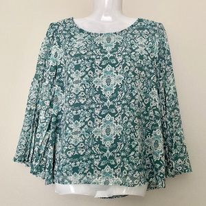June & Hudson | Emerald Green Printed Blouse